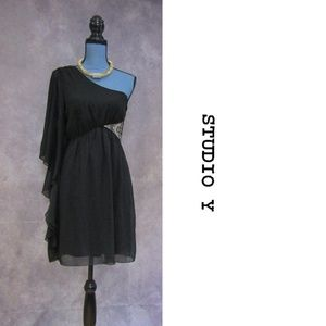 NEW Studio Y Black Rhinestone One Shoulder Dress